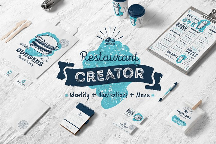 Restaurant menu creator with food illustration pack