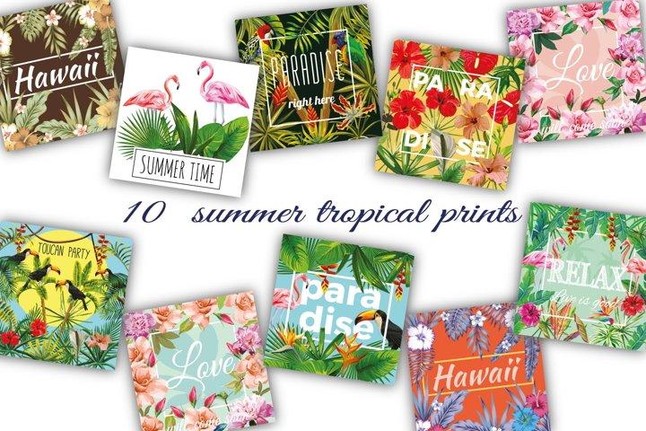 Summer slogan tropical prints