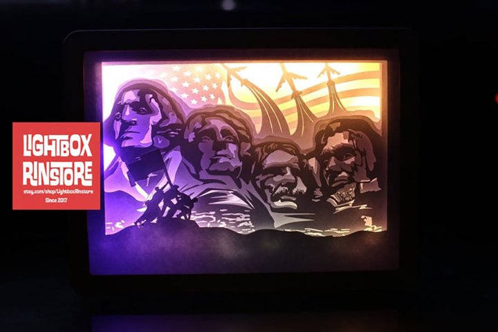 #187 USA Independence Day ,Papercut lightbox 3D Shadow box