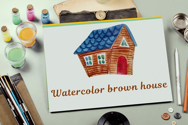 Brown watercolor house