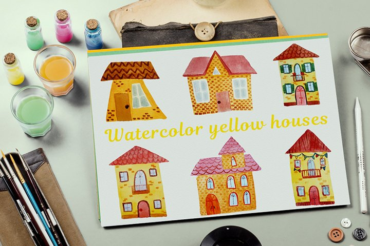 Bundle of yellow watercolor houses