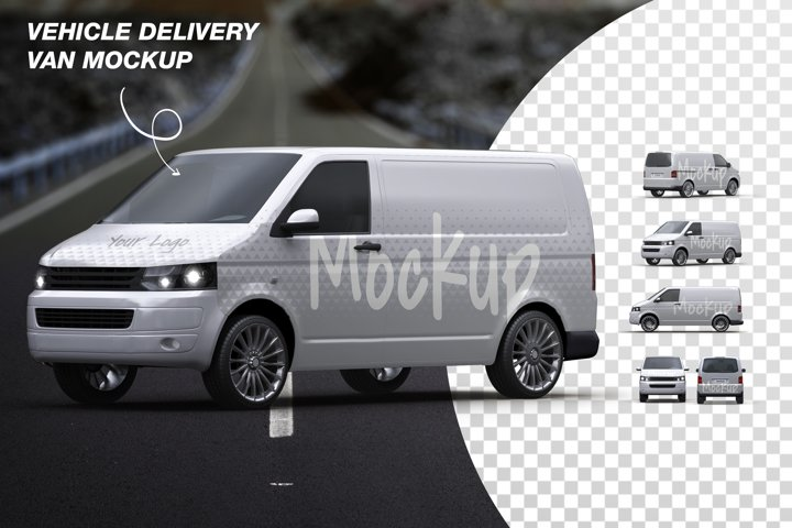 Vehicle Delivery Van Mockup Bundle