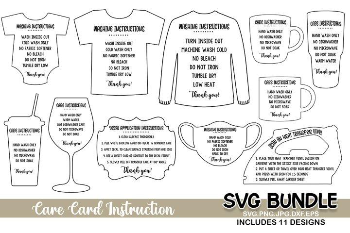 Care Card Bundle, Care Card instruction svg, jpg png dxf svg