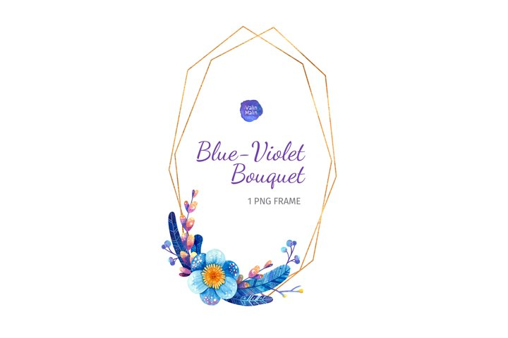 Wedding invitation. Golden frame with blue and purple flower