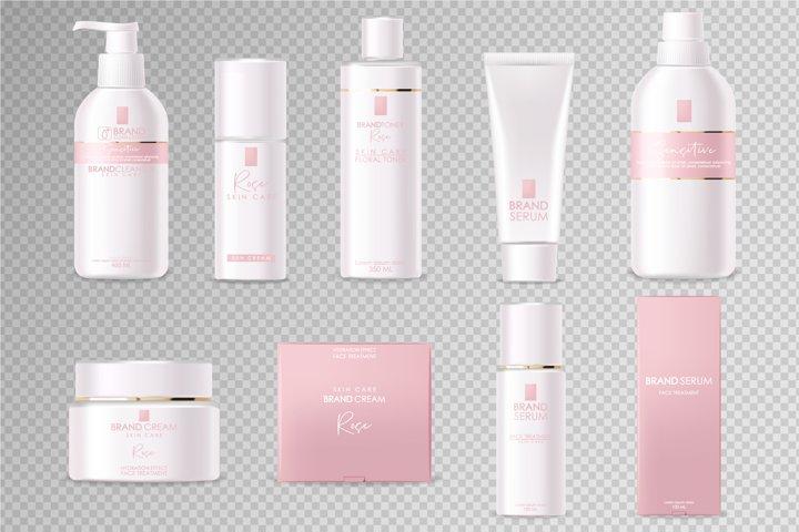 Realistic cosmetics, packaging mockup vector