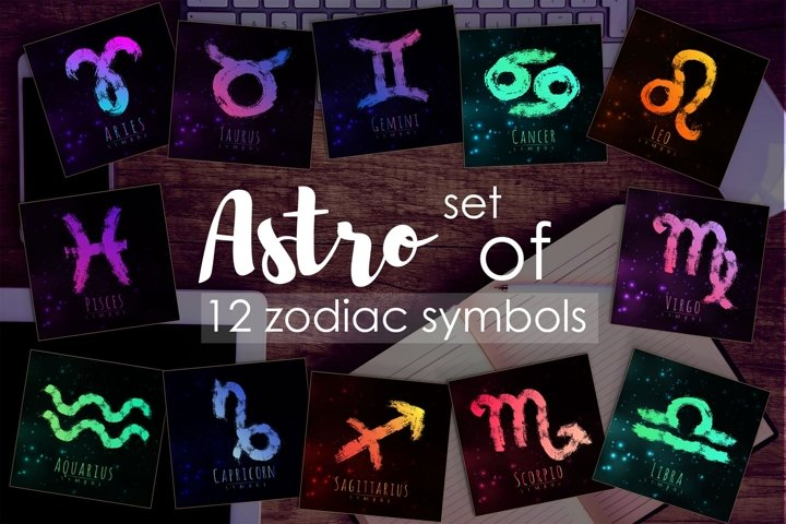 12 Brush Zodiac symbols