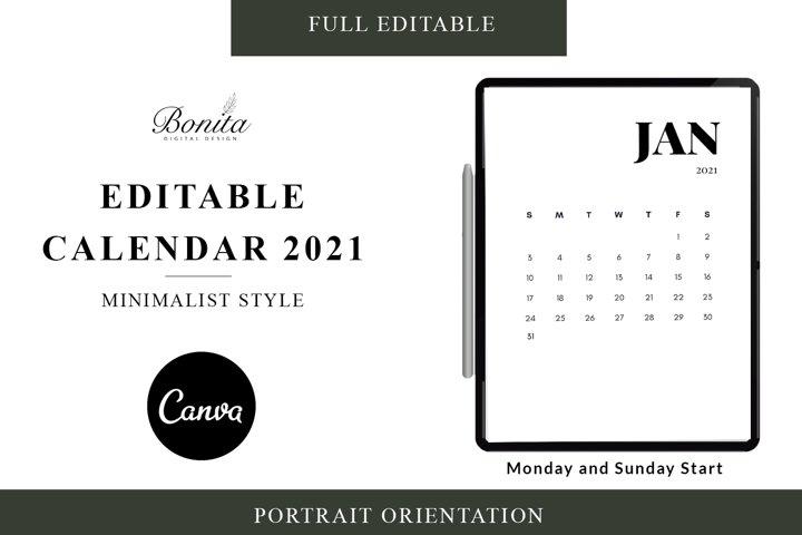 2021 Editable CALENDAR CANVA Edition