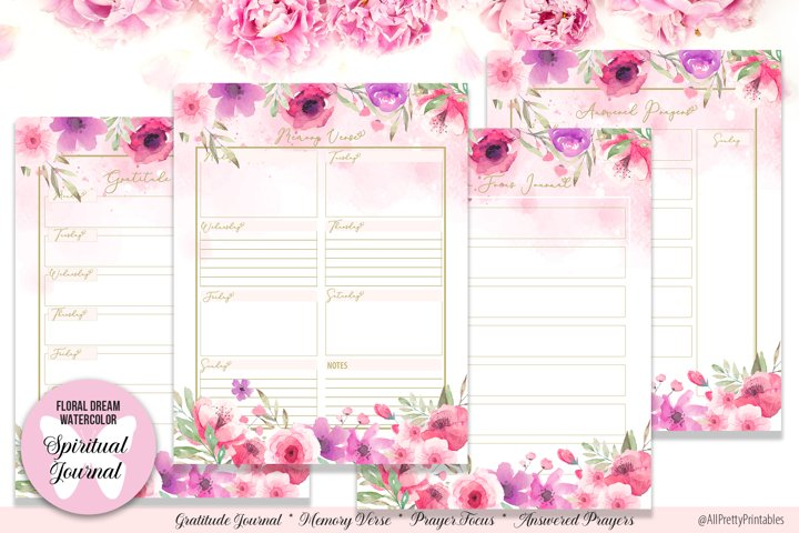 Floral Dream Watercolor Spiritual Journal Printable Planner
