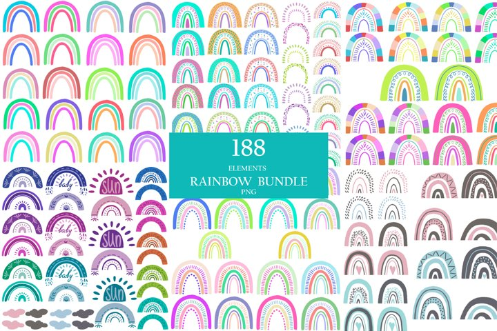 Bundle summer colorful rainbowes clipart