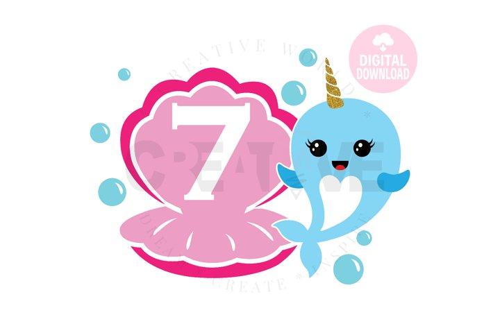 7th Birthday svg | My 7th Birthday svg | Narwhal Birthday