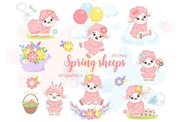Cute sheeps PNG, Easter sheep clip art