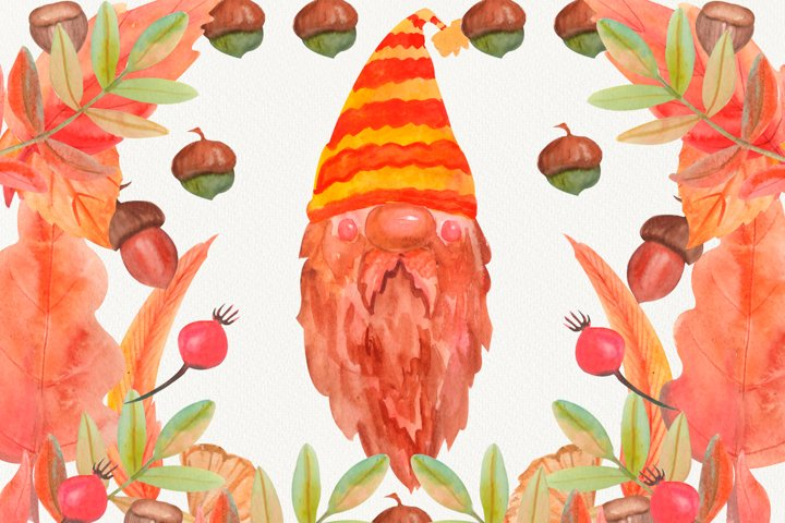 Fall clipart PNG, gnome clipart,