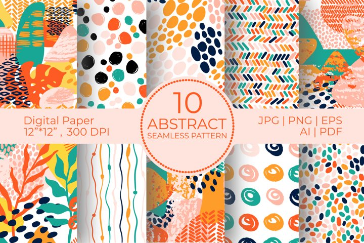 Abstract bright Digital Paper Bundle,doodle seamless pattern