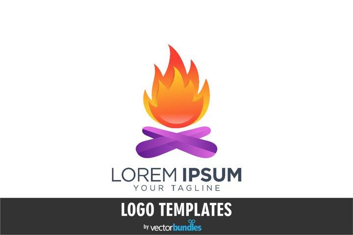 Colorful bonfire logo design template