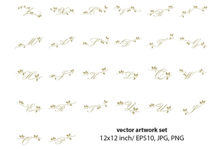 Decorative golden letters , vector set