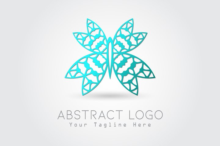 Logo Abstract Butterfly Blue Color Design