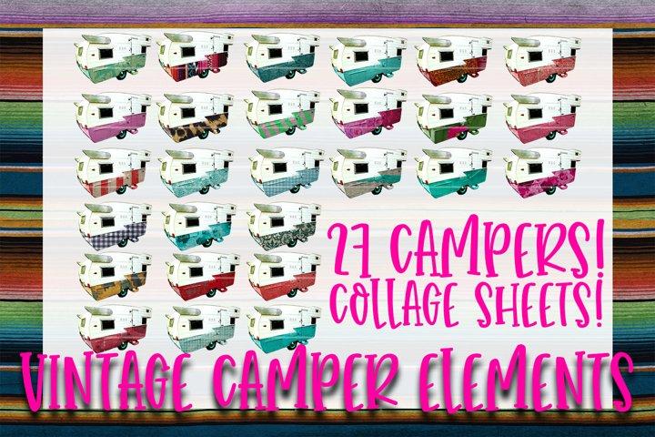 27 Vintage Camper Elements Sublimation Graphics Bundle