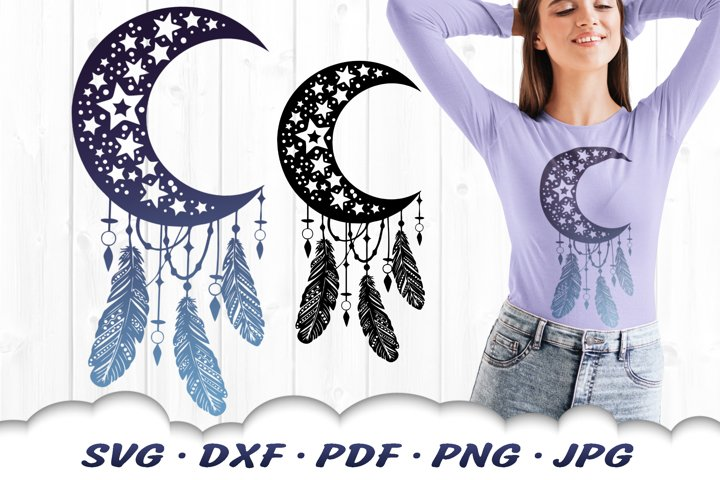 Moon & Stars Celestial Dreamcatcher SVG DXF Cut Files