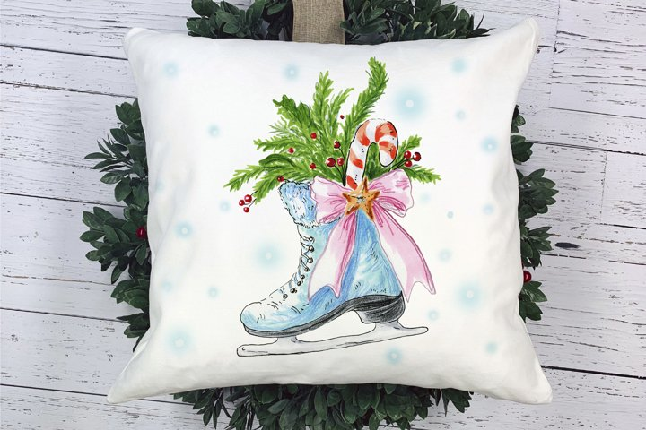 Christmas skate with decoration. PNG and JPG
