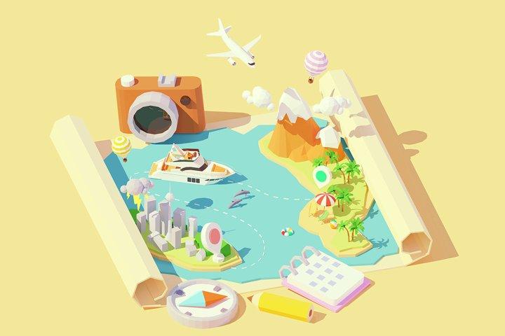 Vector isometric summer travel map