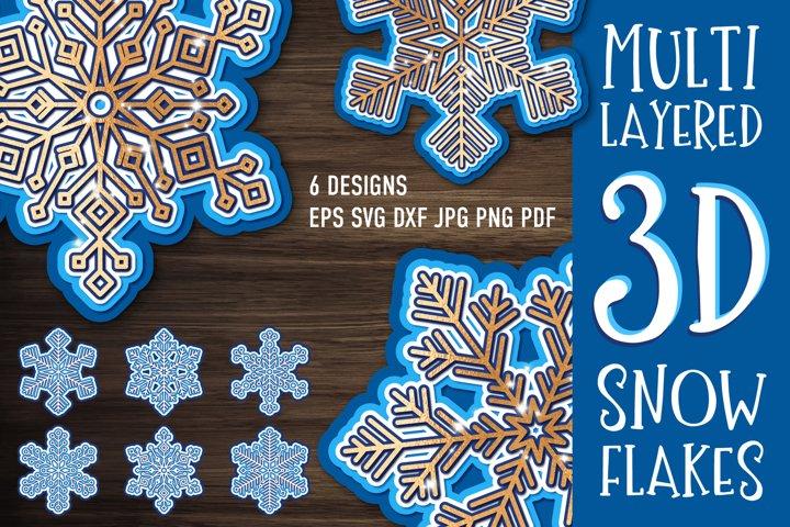 3D Layered Snowflake Bundle | SVG Cut Files