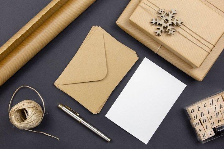 Christmas greeting cards, envelopes mockups, flat lay.