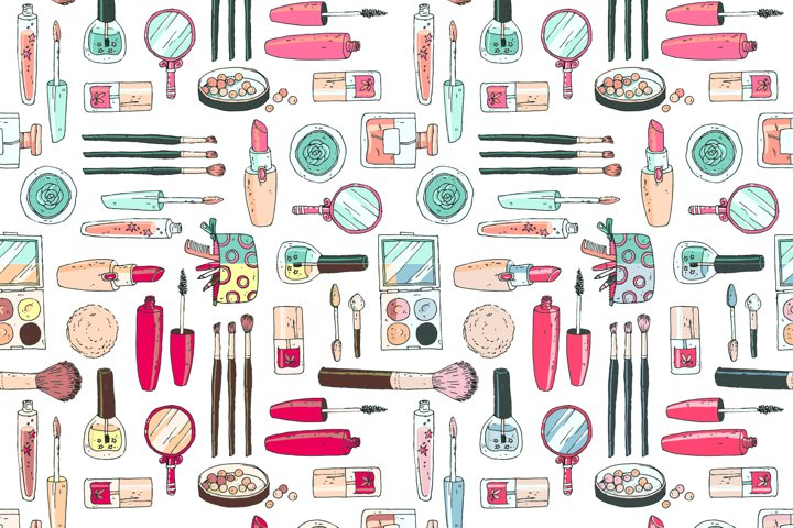 Doodle cosmetics, fashion, spa and beauty. Vector. - Free Design of The Week Design2