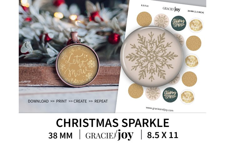 Christmas Sparkle 38 mm, 1.5 inch digital collage sheet