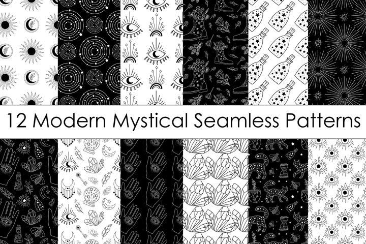 Modern Mystical Digital Paper Pack - Black & White Patterns