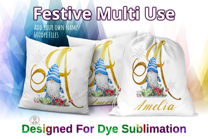 Festive Gnome Multi Use Sublimation Design - Initial A