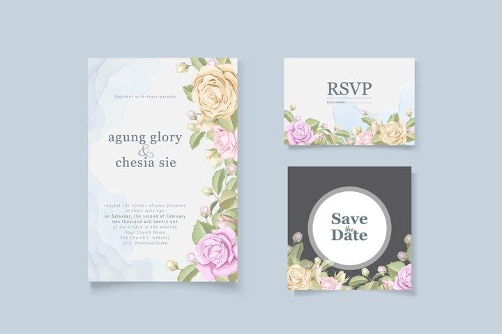 elegant wedding invitation set with rose bouquet