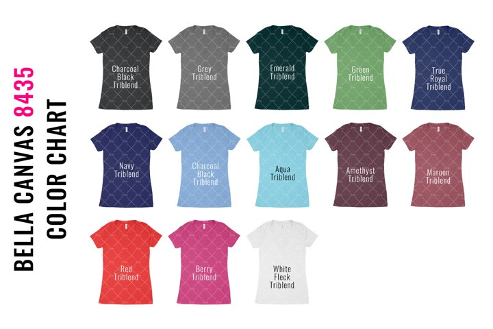 Bella Canvas 8435 Vneck Tshirt Mockup Color Chart