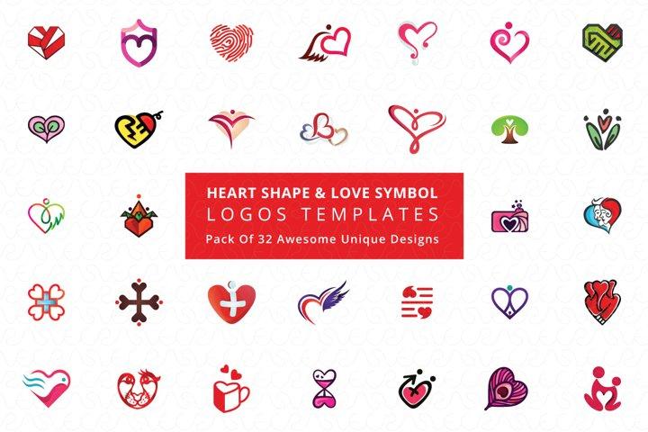 Heart Shape & Love Symbol Logo Templates Pack of 32