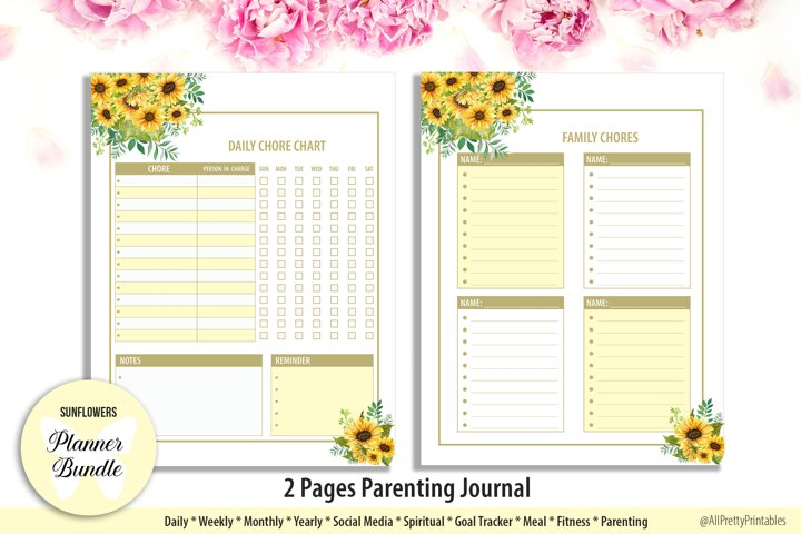 Sunflowers Parenting Planner
