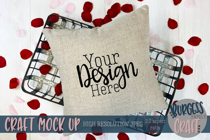 Valentine square pillow with rose petals Craft mock up