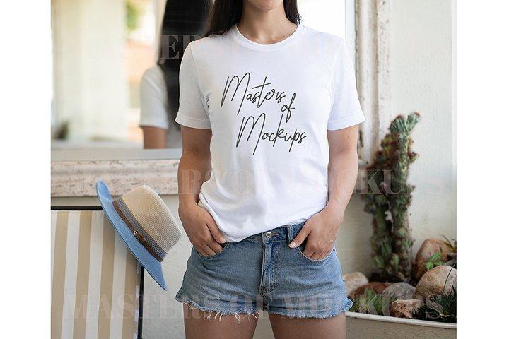 White Tshirt Mockup Female, Beachy Tshirt Bella Canvas
