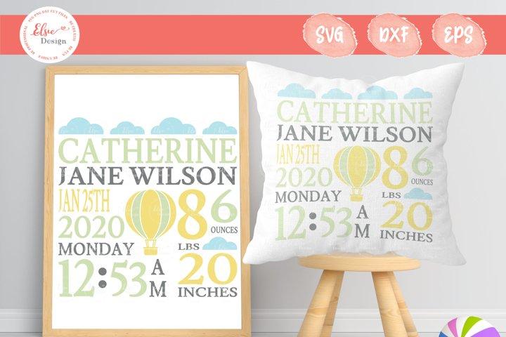 Baby Birth Announcement - Hot Air Balloon SVG Cut Files
