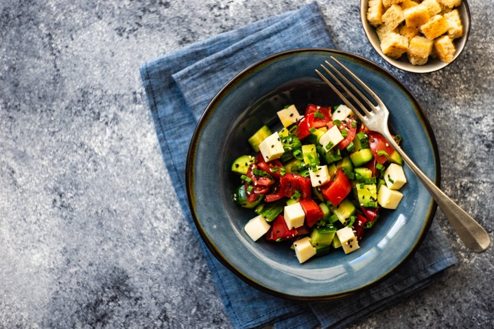 Healthy food concept with organic vegetables in salad