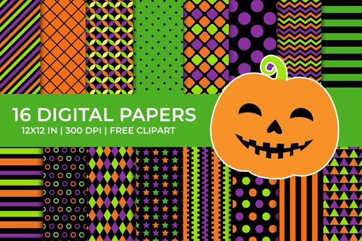 Halloween Digital Papers Set, Free Pumpkin Clipart