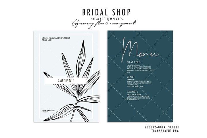 Line art leaves plant jungle clipart wedding invitation art