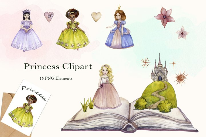 Watercolor Princess Clipart png set, Fairy Tale, Little Girl