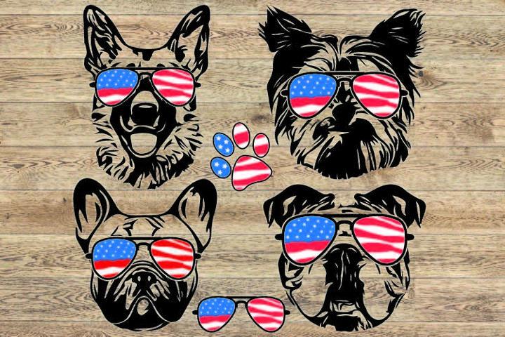 Dogs USA Flag Glasses Paw SVG German shepherd Yorkshire 856S