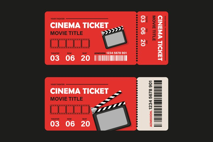 Two sets of design templates for tickets for cinema, theater