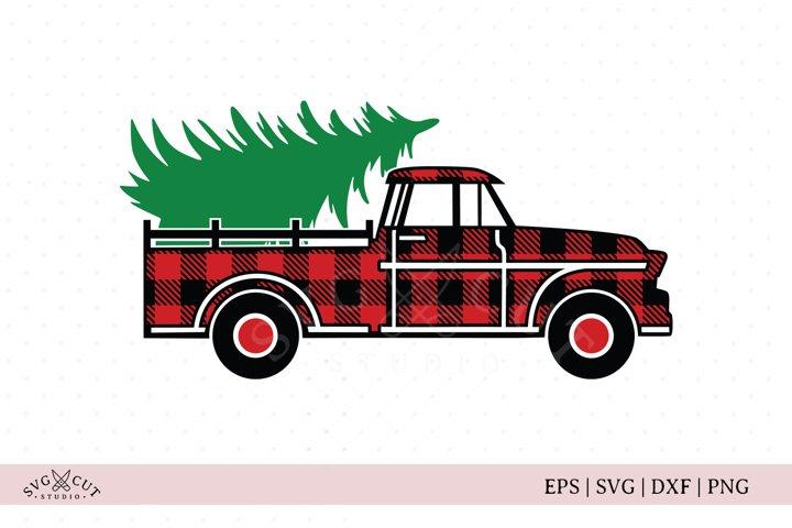 Plaid Christmas Vintage Truck SVG Files