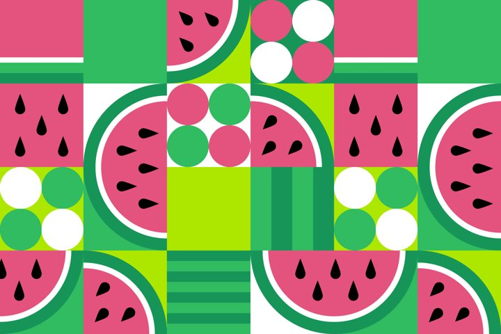 3 Geometric Watermelon Pattern