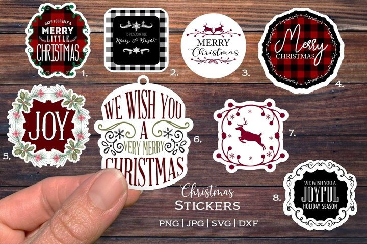 Christmas Stickers bundle| Print and cut | svg| png