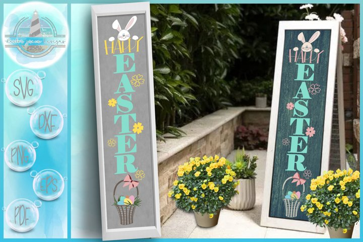 Happy Easter Tall Vertical Front Porch Sign Quote SVG