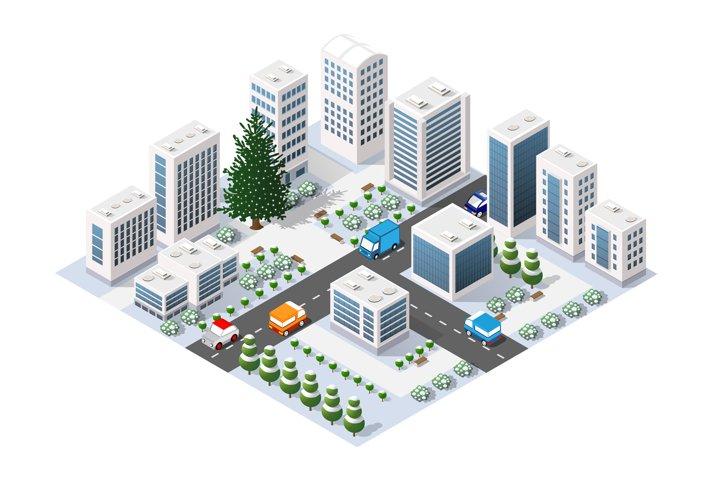 Winter city isometric