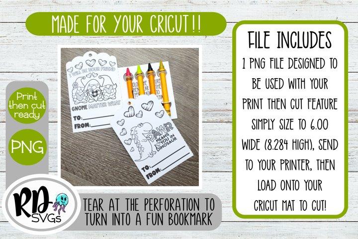 Valentine Coloring Card - A Print then Cut Cricut File