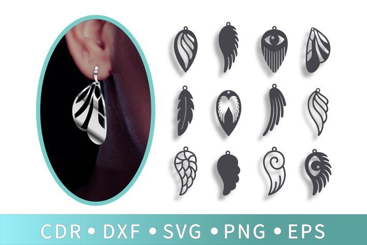12 Angel wings SVG, Butterfly earrings, Tassel necklace, Eye